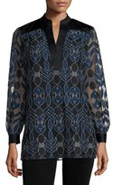 Tory Burch Harbor Split-Neck Lace Tunic, Black/Blue
