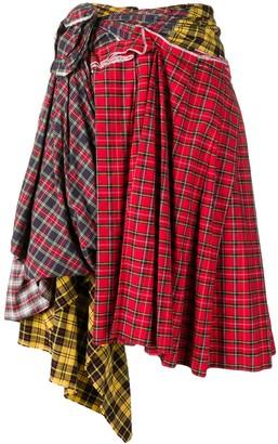 Comme Des Garçons Pre Owned Deconstructed Plaid Skirt