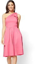 New York & Co. One-Shoulder Fit and Flare Poplin Dress - Pink