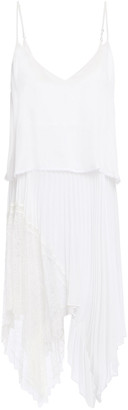 Jonathan Simkhai Asymmetric Layered Lace-paneled Pleated Silk Crepe De Chine Camisole