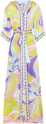 Emilio Pucci Printed Silk-voile Hooded Coverup
