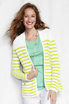 Classic Women's Petite Linen Open Drape Cardigan Sweater-White/Vibrant Lemon Stripe