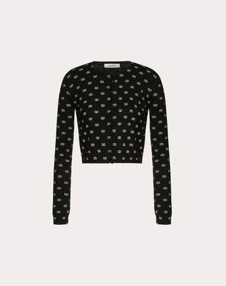 Valentino Mini Vlogo Cashmere Wool Cardigan Women Black XS