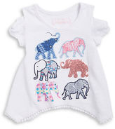Flapdoodles Girls 2-6x Little Girls Asymmetric Elephant Tee0500035034883
