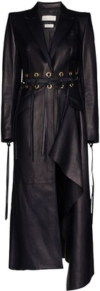 Alexander McQueen Fringed Cutout Leather Coat