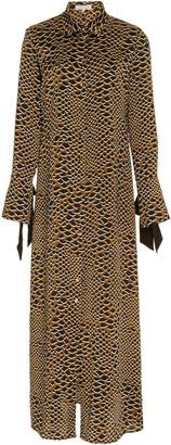 Olivia von Halle Hero Animal-Print Silk-Satin Maxi Dress