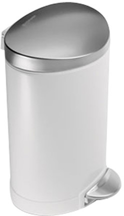 Simplehuman 1.6-Gal. Step Trash Can in White & Steel
