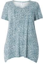 Evans Plus Size Women's Tile Print Pintucked Top