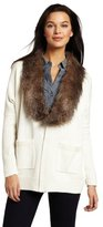 Vince Camuto Women's Faux Fur Collar Cardigan