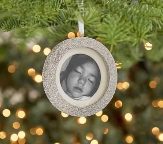 Pottery Barn Kids Silver Glitter Ornaments, Personalized Circle