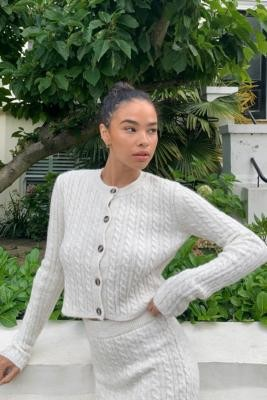 Urban Outfitters Cable Knit Cardigan - White XS at