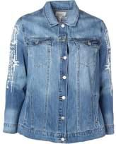 Jessica Simpson Womens Plus Peri Denim Embroidered Jean Jacket
