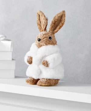 Holiday Lane Shimmer and Light Rabbit with Fur Coat, Created for Macy's