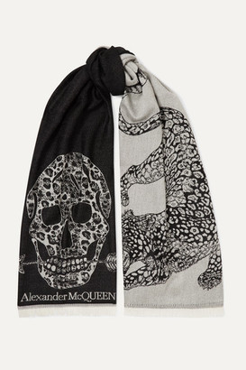 Alexander McQueen Fringed Wool-jacquard Scarf - Ivory
