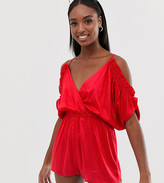 Asos Tall DESIGN Tall beach romper with cold shoulder & flutter sleeve
