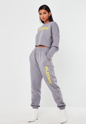 Missguided Playboy X Grey Oversized Joggers