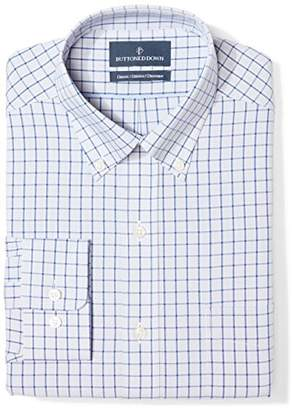 Buttoned Down Classic Fit Button Collar Pattern Dress Shirt, (Grey/Blue Check)