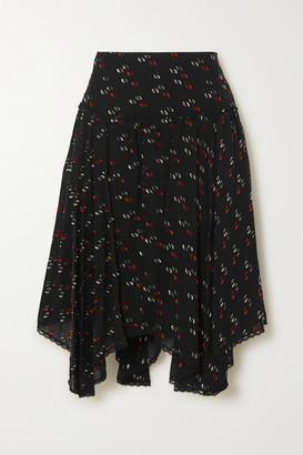 See by Chloe Asymmetric Lace-trimmed Metallic Fil Coupe Chiffon Skirt - Black