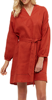 Jaeger Linen Belted Oversized Dress, Red