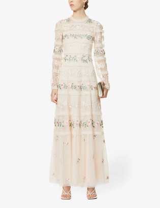 Needle And Thread Precious Rose floral-embroidered mesh maxi dress