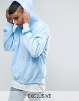 Reclaimed Vintage Inspired Oversized Hoodie In Blue Overdye