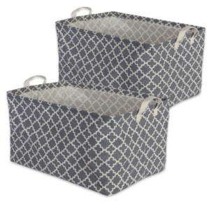 Design Imports Polyethylene Coated Cotton Polyester Laundry Bin Lattice Rectangle Medium Set of 2