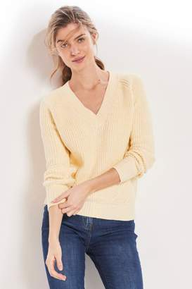 Next Womens Lemon V-Neck Stitch Jumper - Yellow
