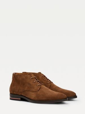 Tommy Hilfiger Signature Lace-Up Suede Boots