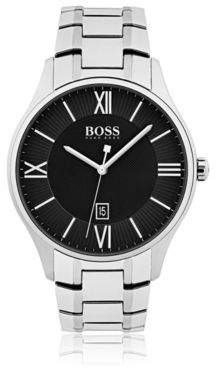 BOSS Polished stainless-steel watch with two-tier black dial and link bracelet
