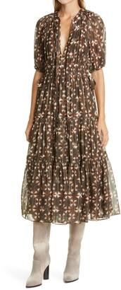 Ulla Johnson Metallic Silk Midi Dress