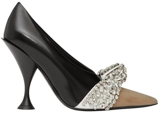 Burberry Crystal Detail Leather And Suede Point-toe Pumps
