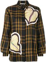 Marco De Vincenzo plaid print shirt with leaf appliqués