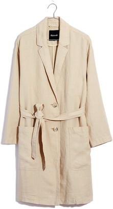Madewell Linen Belted Long Blazer