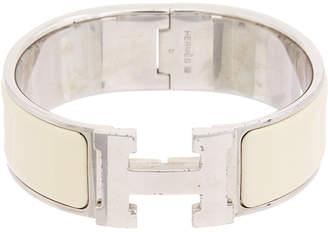 Hermes Palladium-Plated & Cream Enamel Wide Clic-Clac H Bracelet