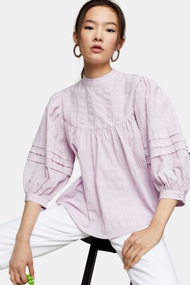 Topshop Womens Lilac Textured Chuck On Blouse - Lilac