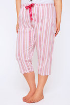 Yours Clothing Pink Stripe Print Cropped Pyjama Bottoms