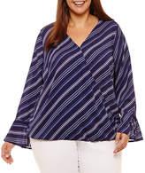 Liz Claiborne Long Sleeve Wrap Shirt- Plus