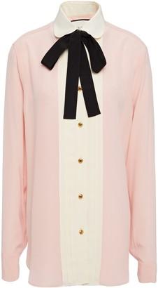 Gucci Pussy-bow Color-block Silk Crepe De Chine Blouse
