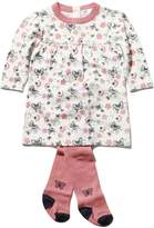 M&Co Butterfly print knitted dress and tights set