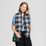 Women's Quilted Plaid Puffer Vest - A New Day Black