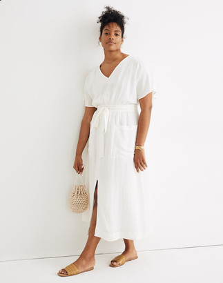 Madewell Petite Linen-Blend Dolman-Sleeve Tie-Waist Midi Dress
