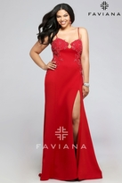 Faviana Foxy Neoprene Dress with Lace Applique 9383