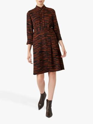 Hobbs Lois Tiger Dress, Tobacco/Black
