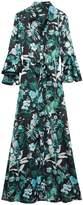 Banana Republic Botanical Print Flutter-Sleeve Maxi Shirtdress