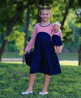 Lilli Lovebird Girls' Casual Dresses Bubblegum - Bubblegum Pink and Navy Eva Empire-Waist Dress & Doll Dress - Girls
