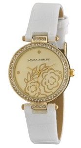 Laura Ashley Ladies' White Crystal Bezel T-bar Floral Grey Alligator Strap Watch