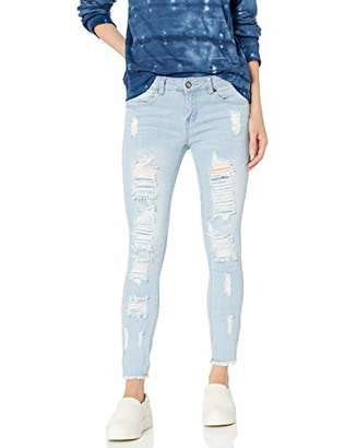 Cover Girl Plus Size Cute Mid Rise Waisted Ripped Distressed Torn Skinny Juniors