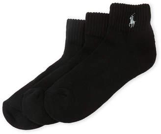 Polo Ralph Lauren 3-Pack Cushioned Sole Quarter Cuff Socks
