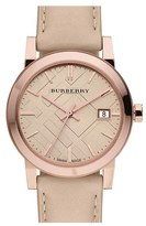 Burberry Check Stamped Round Dial Watch, 34mm