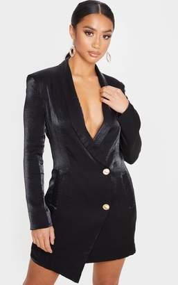 PrettyLittleThing Petite Black Shimmer Gold Button Blazer Dress